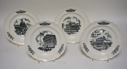 SET OF 4 WEDGWOOD *FEDERAL CITY* PLATES. 10 1/4 INCH DIA.