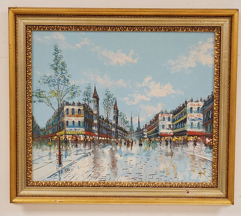 CONTEMPORARY OIL PAINTING ON CANVAS OF A CITY WITH A COBBLESTONE STREET. SIGNED
