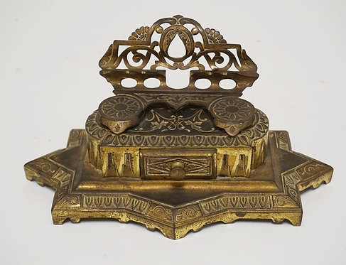 CAST IRON INKSTAND WITH DOUBLE INKWELLS AND A DRAWER. GOLD GILT FINISH. 10 1/2 I