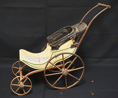 LATE 19TH CENTURY JOEL ELLIS STYLE HOODED VICTORIAN DOLL CARRIAGE, 24 INCHES TAL