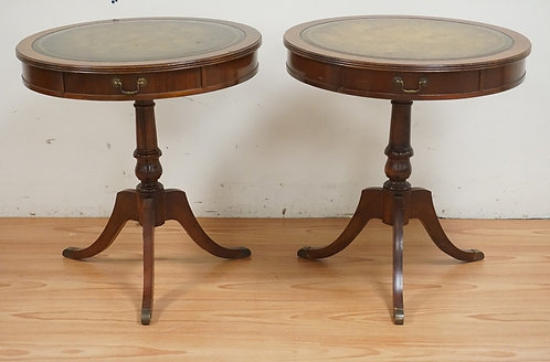 PAIR OF MAHOGANY LEATHER TOP LAMP TABLES. 28 INCHES HIGH. 26 INCH DIA.