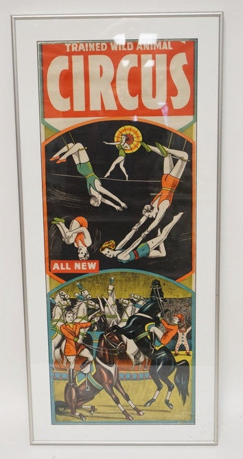 VINTAGE *TRAINED WILD ANIMAL CIRCUS* POSTER. 13 X 34 1/4 INCH IMAGE.