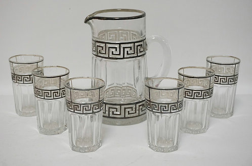 7 PIECE HEISEY GREEK KEY SILVER OVERLAY PITCHER WITH 6 TUMBLERS. PITCHER MEASURE