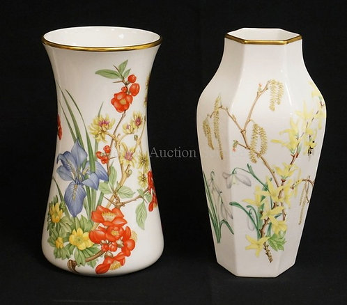 LOT OF 2 WEDGWOOD PORCELAIN VASES WITH BEAUTIFUL FLORAL DECORATION. PRIVATELY CO