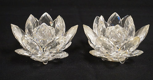 PAIR OF SWAROVSKI CRYSTAL CANDLE HOLDERS. 4 INCHES IN DIA,