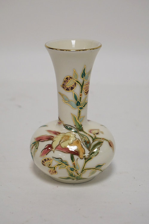 ZSOLNAY HUNHARY PORCELAIN CABINET VASE DECORATED WITH FLOWERS. 4 3/8 INCHES HIGH