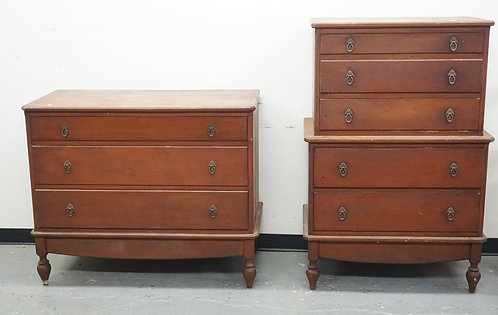 PAIR OF BENCH MADE CHESTS. DOVETAILED CONSTRUCTION. TALL CHEST IS 54 X 36 INCHES
