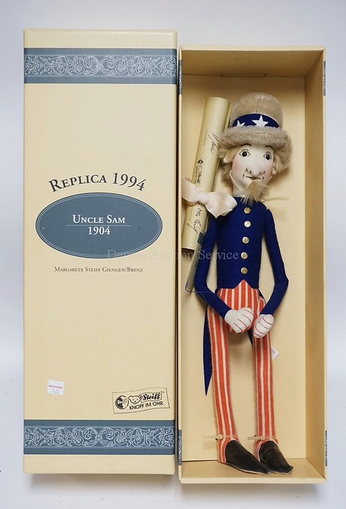 STEIFF *UNCLE SAM* WITH BOX. 19 1/2 INCHES HIGH. 1994.