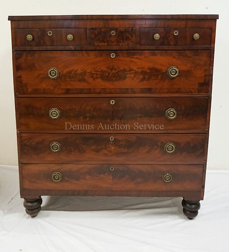 ANTIQUE EMPIRE MAHOGANY CHEST OF DRAWERS. 3 OVER 4 WITH BOOK MATCHED VENEER FRON