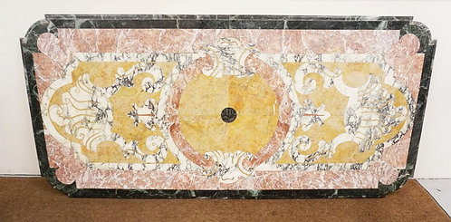 INCREDIBLE MARBLE TOP HAVING CUT CORNERS AND A STEPPED AND CURVED EDGE. THE TOP