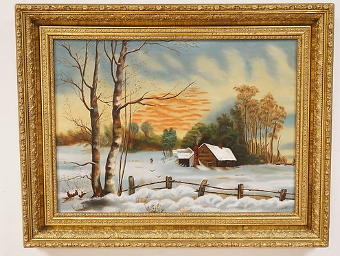 E. LIZZIE SEARS OIL PAINTING ON CANVAS OF A SNOW COVERED FARM. 23 1/4 X 17 INCHE