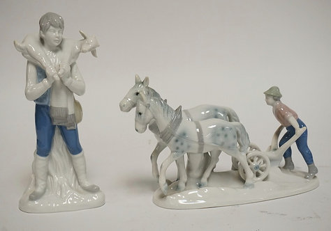 LOT OF 2 GEROLD PORCELAIN FIGURES INCLUDING A BOY WITH HORSES PULLING A PLOW AND