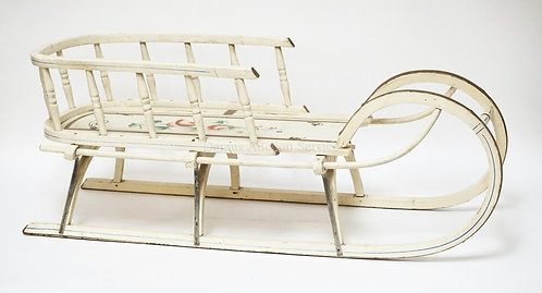 PAINT DECORATED CHILD'S SLED WITH A TURNED SPINDLE RAIL. 36 IN LONG, 11 IN WIDE