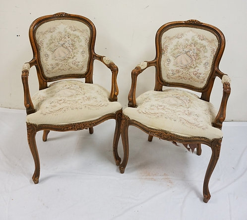 PAIR OF CARVED PARLOR CHAIRS WITH TAPESTRY SEATS AND BACKS.