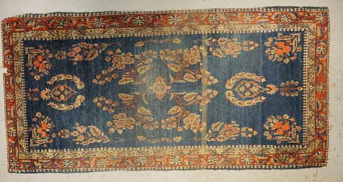 ANTIQUE ORIENTAL TRHOW RUG IN RED AND BLUE. 2 F T 4 X 4 FT 11 INCHES.