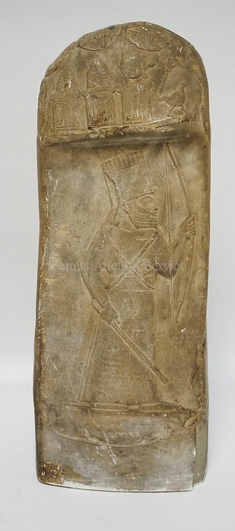 MUSEUM OF FINE ARTS EGYPTIAN PLASTER HIEROGLYPHIC SCULPTURE. 25 INCHES HIGH.