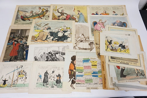 HUGE LOT OF 65 ANTIQUE CARICATURES. MOSTLY ETCHINGS. MOSTLY BRITISH.