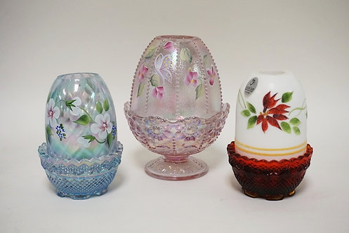 3 FENTON HAND PAINTED FAIRY LAMPS, 2 ARE CARNIVAL GLASS TALLEST 5 � IN