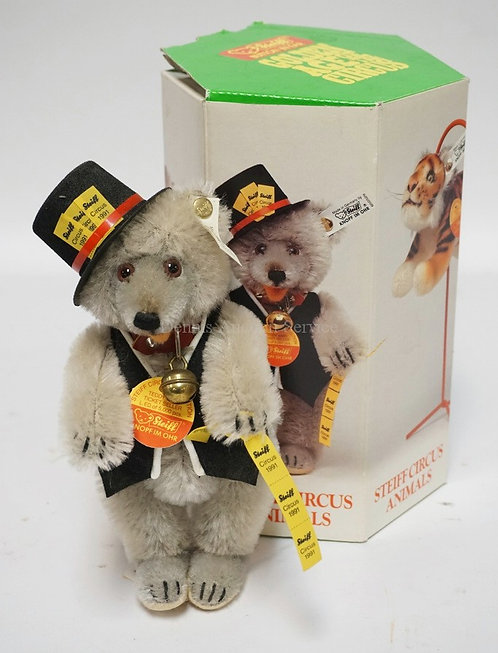 STEIFF *GOLDEN AGE OF THE CIRCUS - CIRCUS BAND* TEDDY BEAR TICKET SELLER. WITH B