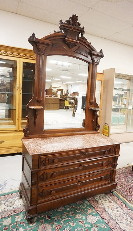WALNUT VICTORIAN MARBLE TOP CHEST OF DRAWERS WITH MIRROR. 93 INCHES HIGH. 47 INC