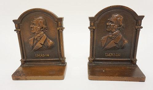 PAIR OF BRADLEY AND HUBBARD CAST IRON BOOKENDS. BRONZE PATINA. RALPH WALDO EMERS