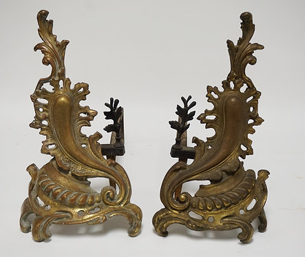 PAIR OF BRASS AND IRON ANDIRONS. 16 1/4 INCHES HIGH.