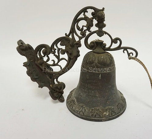BRONZE WALL MOUNTED BELL WITH INSCRIPTION READING *PRESENTED TO HOWARD WARREN ??