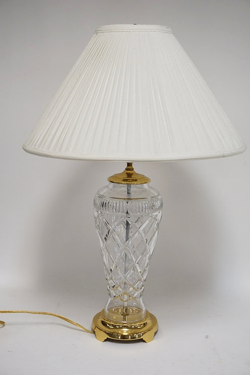 WATERFORD CRYSTAL LAMP AND SHADE. 37 1/4 INCHES HIGH.