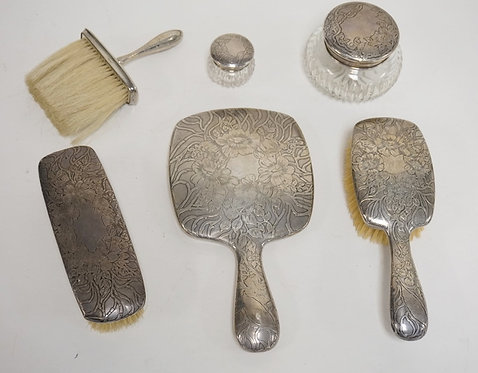 6 PIECE UNGER BROS STERLING SILVER DRESSER SET. MIRROR, 3 BRUSHES, AND 2 CUT GLA