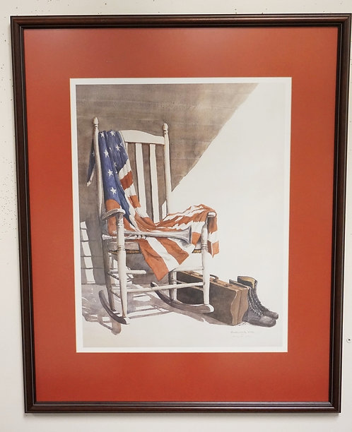 BARBARA COX LIMITED EDITION PRINT OF AN AMERICAN FLAG DRAPED OVER A ROCKING CHAI