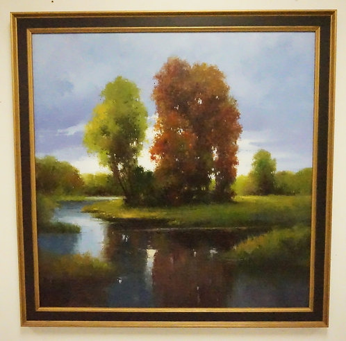 OIL PAINTING ON CANVAS OF A LANDSCAPE WITH TREES. SIGNED LOWER LEFT. 47 1/4 X 47
