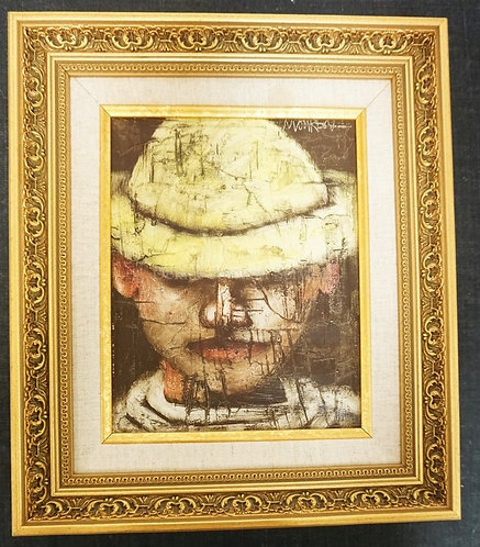 ANDRES MONREAL OIL PAINTING ON CANVAS OF A BOY IN A YELLOW HAT. SIGNED UPPER RIG