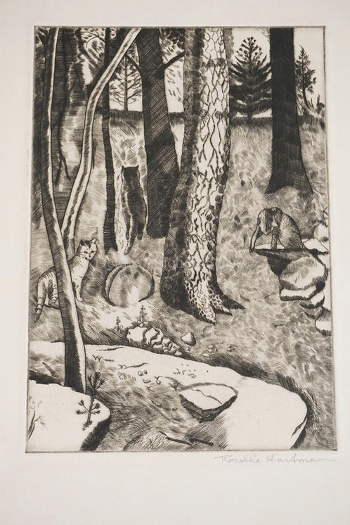 ROSELLE HARTMAN ETCHING OF CATS IN THE WOODS. 6 7/8 X 9 7/8 INCHES.
