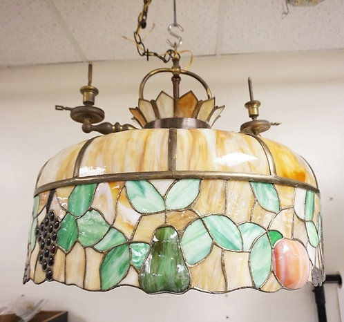 ANTIQUE LEADED GLASS FRUIT DOME WITH 2 ATTACHED GAS FIXTURES. GRAPES, PEARS AND