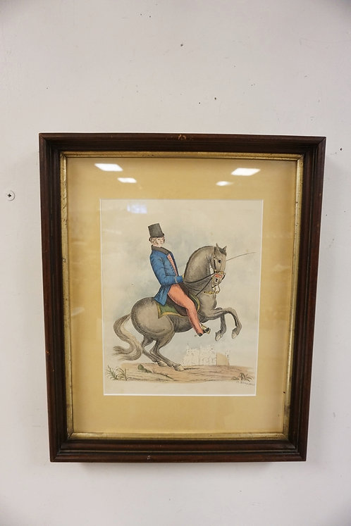 PRINT OF A MAN ON HORSEBACK SIGNED G ADAMS 1840 IN A WALNUT VICTORIAN FRAME. IMA