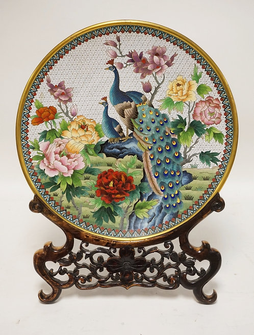 CHINESE CLOISONNE CHARGER DECORATED WITH PEACOCKS AND FLOWERS. 15 1/4 INCH DIA.