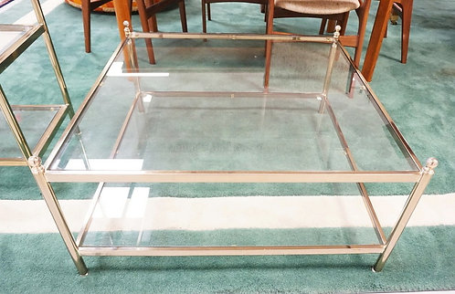 LABARGE BRASS AND GLASS 2 TIER COFFEE TABLE. 36 INCHES SQUARE. 17 1/4 INCHES HIG