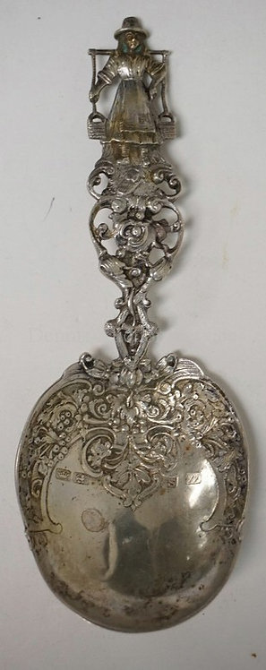 HANAU GERMAN SILVER SPOON. POSSIBLY WOLF & KNELL TOUCHMARKS. DECORATED WITH FOLI