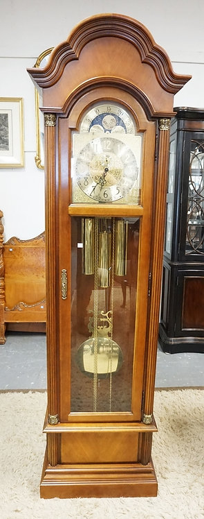 GWEST GERMAN TALL CASE CLOCK WITH AN ORNATE BRASS FACE. 80 INCHES HIGH.