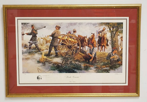 DALE GALLON *DOUBLE CANISTER* PRINT OF A CIVIL WAR SCENE INCLUDING GENERAL JAMES