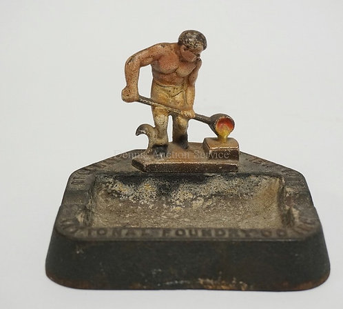 FIGURAL CAST IRON ASHTRAY WITH LETTERING READING *NATIONAL FOUNDRY CO INC. BROOK