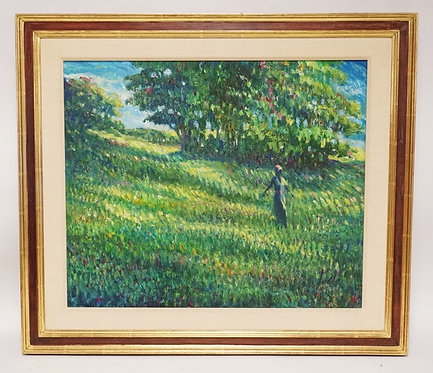 IMPRESSIONIST OIL PAINTING ON CANVAS OF A WOMAN IN A FIELD WITH TREES. SIGNED LO