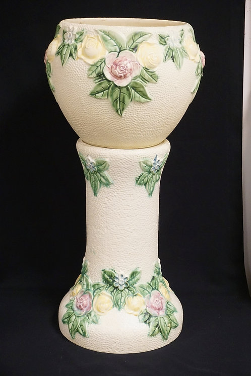 1917 ROSEVILLE ROZANE ART POTTERY JARDINIERE & PEDESTAL. 27 3/4 INCHES HIGH.