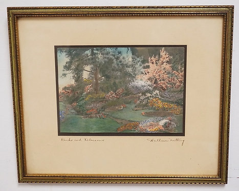 1218_WALLACE NUTTING *ROCKS AND BLOSSOMS* HAND COLORED PRINT. 6 3/4 X 4 3/4 INCH