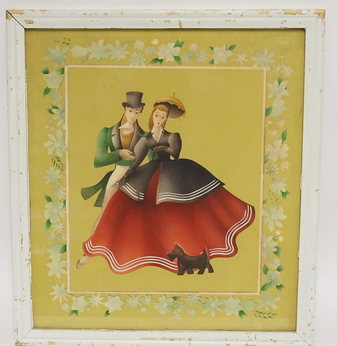 VINTAGE AIRBRUSH WATERCOLOR OF A WELL DRESSED COUPLE WITH A SCOTTIE DOG. BY BERN