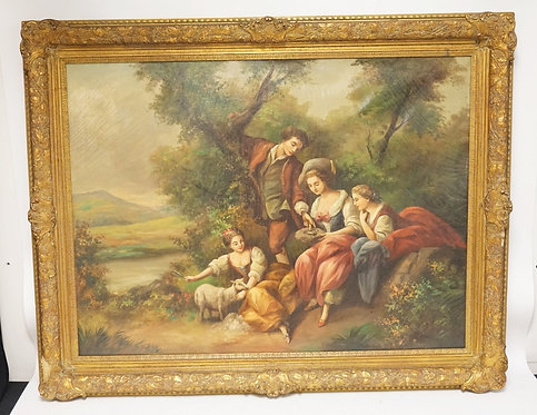 OIL PAINTING ON CANVAS OF A FAMILY WITH ANIMALS IN A EUROPEAN LANDSCAPE. SIGNED