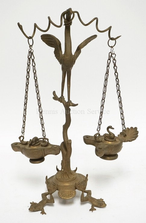 CAST BRASS/BRONZE FIGURAL STAND WITH 2 HANGING FAT LAMPS. THE STAND HAVING FULL