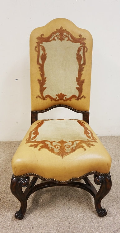 MAITLAND SMITH LEATHER AND SUEDE ORNMENTAL SIDE CHAIR WITH CABROILE LEGS, HAS SO