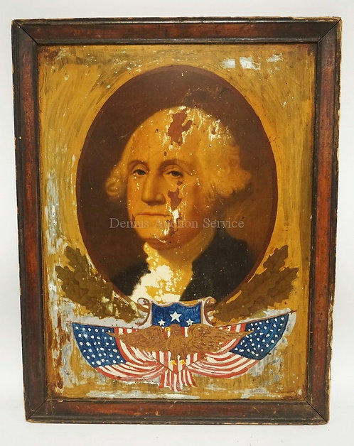 ANTIQUE PRINT AND PAINTING ON TIN OF GEORGE WASHINGTON. 20 1/2 X 26 1/2 INCH FRA