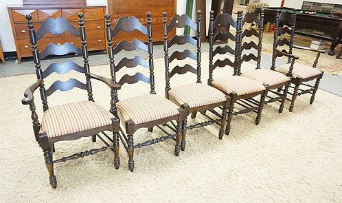 SET OF 6 LADDERBACK CHAIRS WITH TURNED POSTS AND STRETCHERS. UPHOLSTERED SEATS.